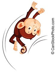A monkey jumping on white background