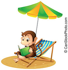 A monkey reading a book at the beach - Illustration of a...