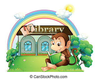 A monkey reading a book outside the library