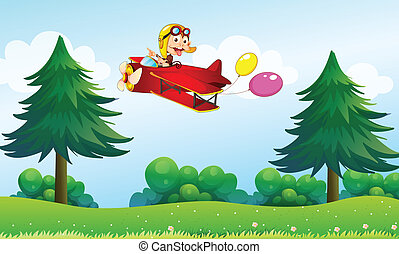A monkey riding in an aircarft with two balloons