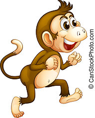 A monkey running - Illustration of a monkey running on a...