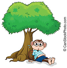 A monkey sitting under a tree