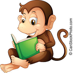 A monkey sitting while reading a book - Illustration of a...