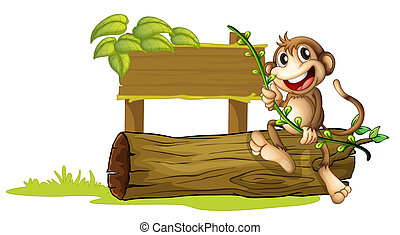 A monkey sitting with a wooden signboard