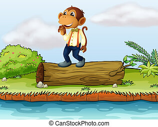 A monkey standing on a log