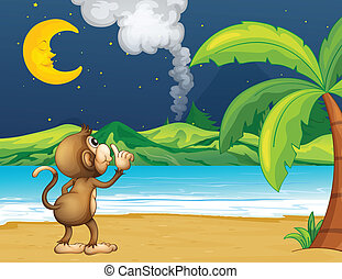 A monkey strolling in the beach