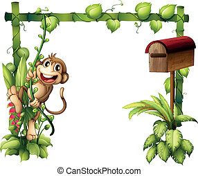 A monkey swinging beside a wooden mailbox