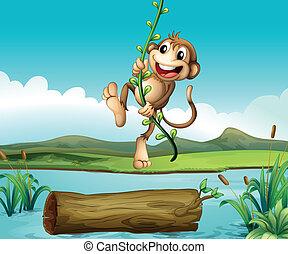 A monkey swinging - Illustration of a monkey swinging