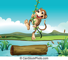 A monkey swinging - Illustration of a monkey swinging