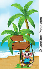 A monkey swinging near the arrowboard