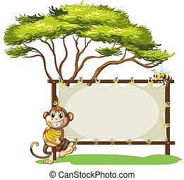 A monkey with a banana near the empty signage - Illustration...