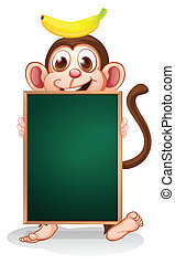 A monkey with a banana on his head holding an empty blackboard