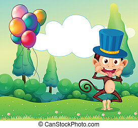 A monkey with balloons in the hilltop - Illustration of a...