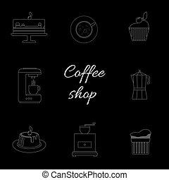 A monochrome set of coffee items, c
