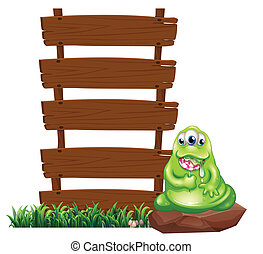 A monster beside the empty wooden boards