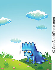 A monster exercising at the top of the hill - Illustration...