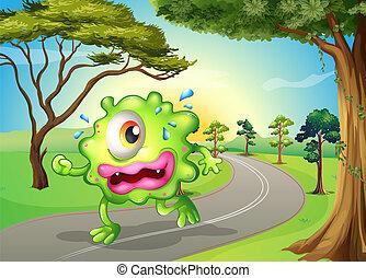 a, monster, joggning, hos, den, väg