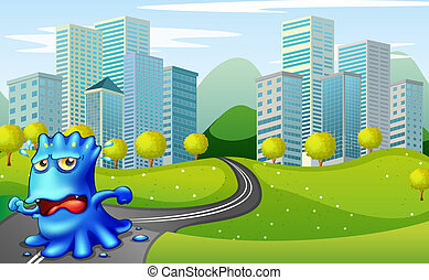 A monster running at the road near the buildings -...