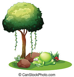 A monster sleeping under the tree - Illustration of a...