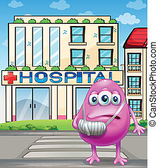 A monster standing in front of the hospital
