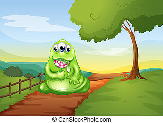 A monster walking while eating a lollipop - Illustration of...