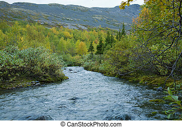 a, montanha, rio
