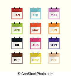 A month Calendar icon vector in modern flat style for web, graphic and mobile design