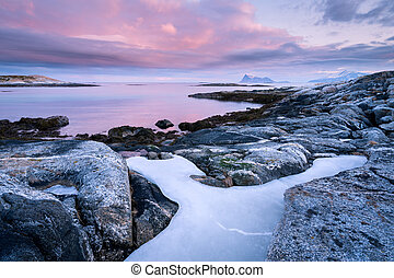 A moody early morning seascape photographed at sunrise