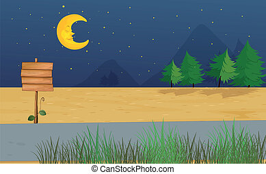 A moon and a wooden notice board