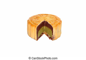 A Moon cake on white background