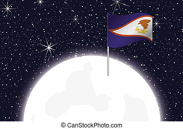 Moon Illustration with the Flag of American Samoa