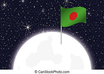 Moon Illustration with the Flag of Bangladesh