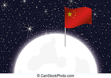 Moon Illustration with the Flag of China