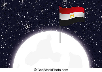 Moon Illustration with the Flag of Egypt