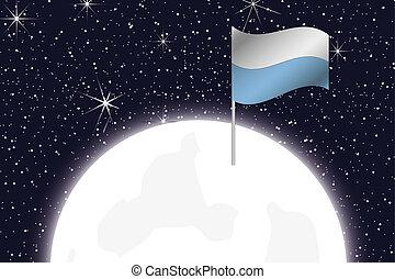 Moon Illustration with the Flag of San Marino