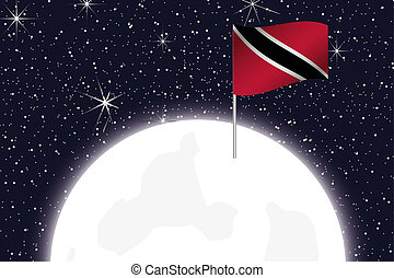 Moon Illustration with the Flag of Trinidad and Tobago