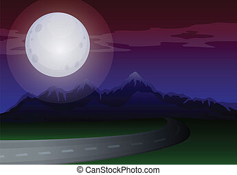 A moonlight scenery along the road