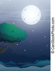 A moonlight scenery