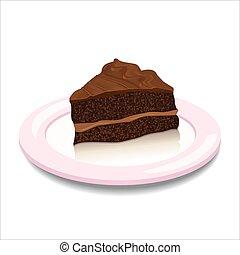 a, morceau chocolat, tarte, sur, les, plaque