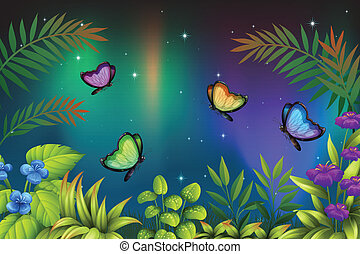 A morning view with butterflies - Illustration of a morning...