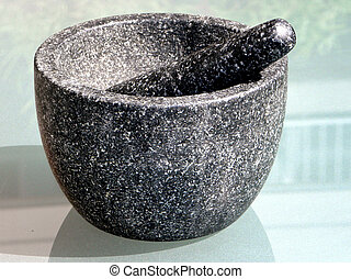 A mortar with pestle