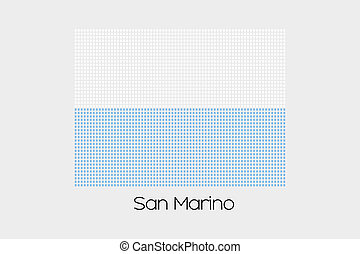 Mosaic Flag Illustration of the country of San Marino