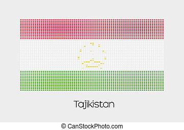 Mosaic Flag Illustration of the country of Tajikistan