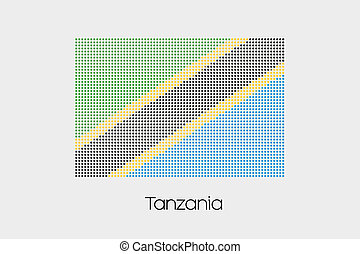 Mosaic Flag Illustration of the country of Tanzania