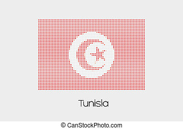 Mosaic Flag Illustration of the country of Tunisia