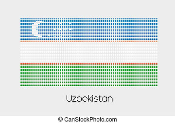 Mosaic Flag Illustration of the country of Uzbekistan