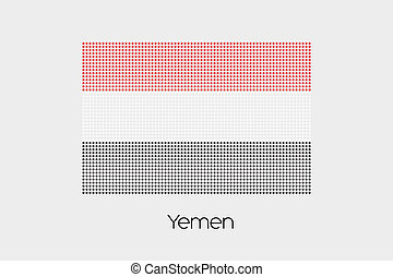 Mosaic Flag Illustration of the country of Yemen