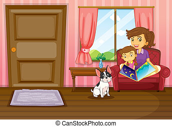 Illustration of a mother and a girl reading with a dog inside the house