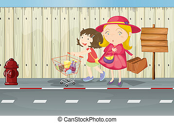 A mother and child near the empty signboard