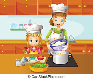 A mother and daughter cooking - Illustration of a mother and...